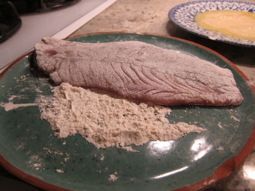 So the fish gets dredged in the flour first. Then the egg. Then back to the flour.