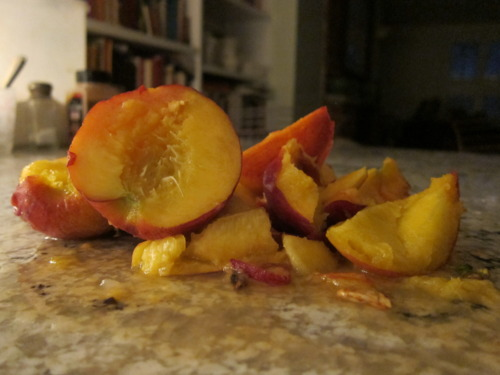 Peaches aren'texactly in season (mea culpa), so scooping the pits out proved to be a challenge.