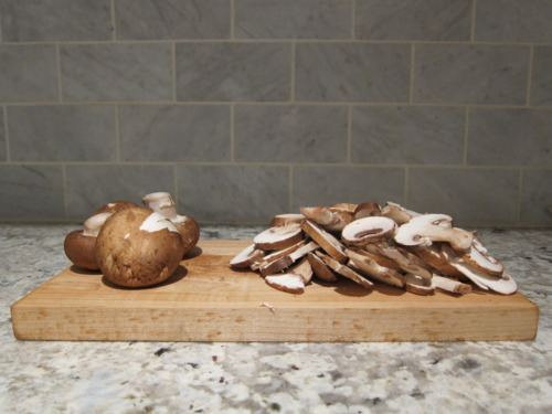 Thinly slice your mushrooms.