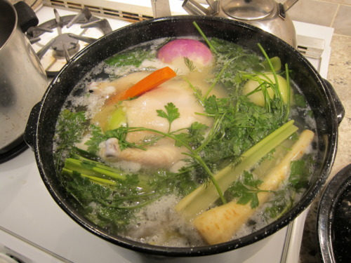 Cover everything with water, then bring to a rapid boil. Let simmer. For hours. Days.