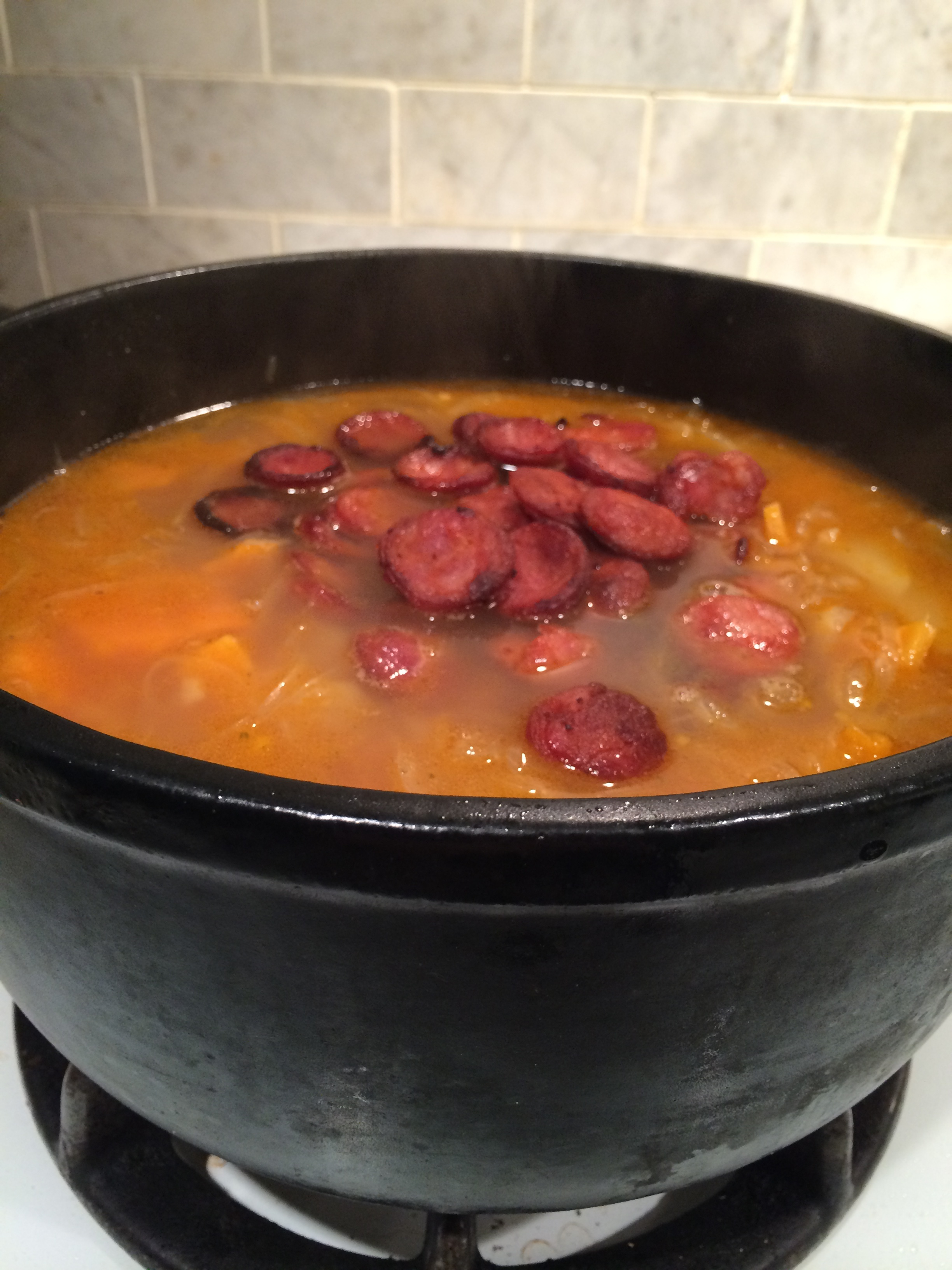 Now we're talking. Chorizo in soup.