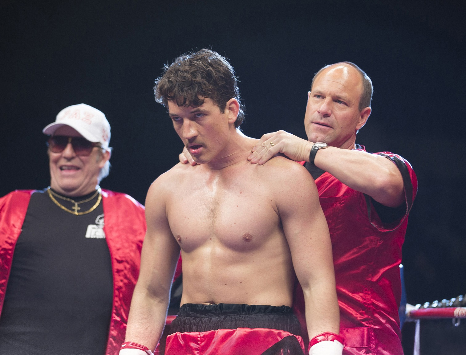 BFT-D25-212	(Left to right) Ciaran Hinds, Miles Teller and Aaron Eckhart in BLEED FOR THIS.