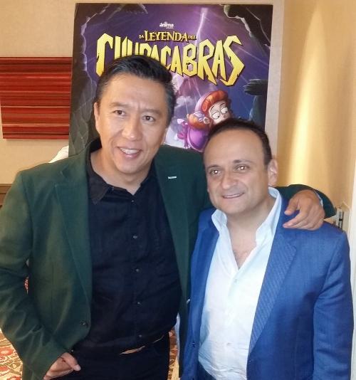 """El director de la cinta animada,  Alberto """"El Chino"""" Rodríguez y el actor Lalo España."""