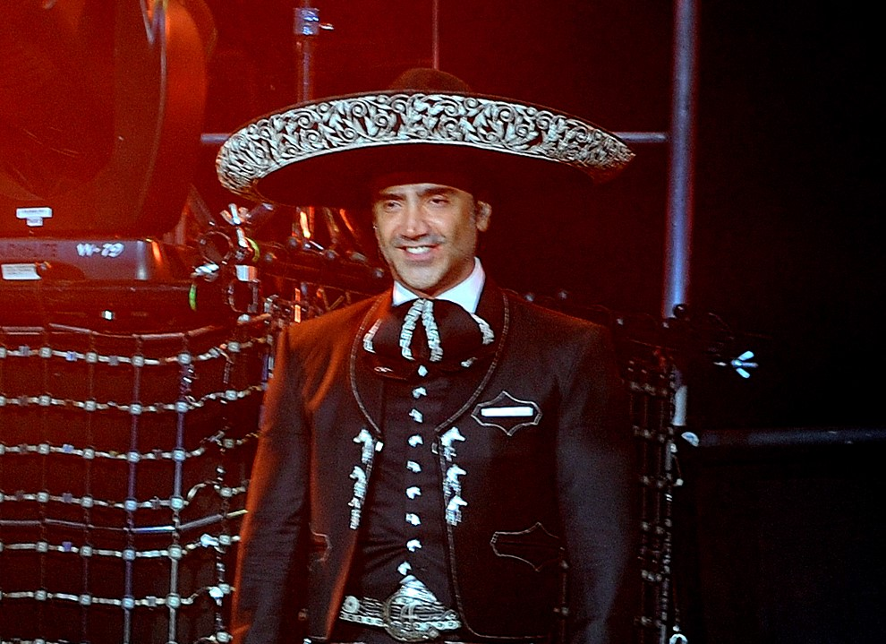 In this photo provided by the Las Vegas News Bureau, Alejandro Fernandez returns to Mandalay Bay Events Center on the Las Vegas Strip with his Dos Mundos: Revolucion Tour during Mexican Independence Day Weekend. Saturday, September 15, 2012. (AP Photo/Las Vegas News Bureau, Glenn Pinkerton)