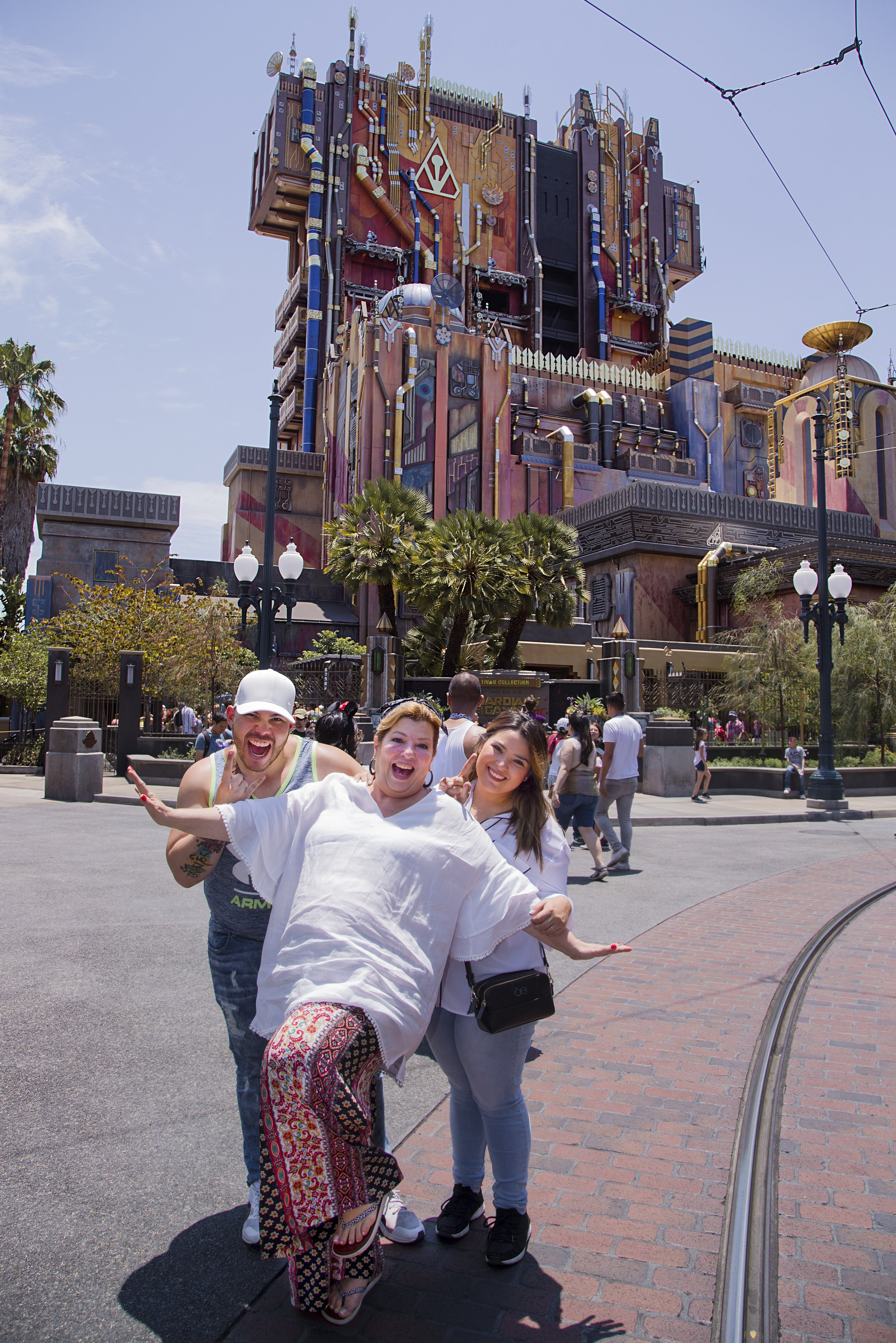 (July 5, 2017) Margarita la Diosa de la Cumbia enjoys Guardians of the Galaxy - Mission: Breakout! with her children at Disney California Adventure park in Anaheim, Calif., on Wednesday . (Joshua Sudock/Disneyland Resort)