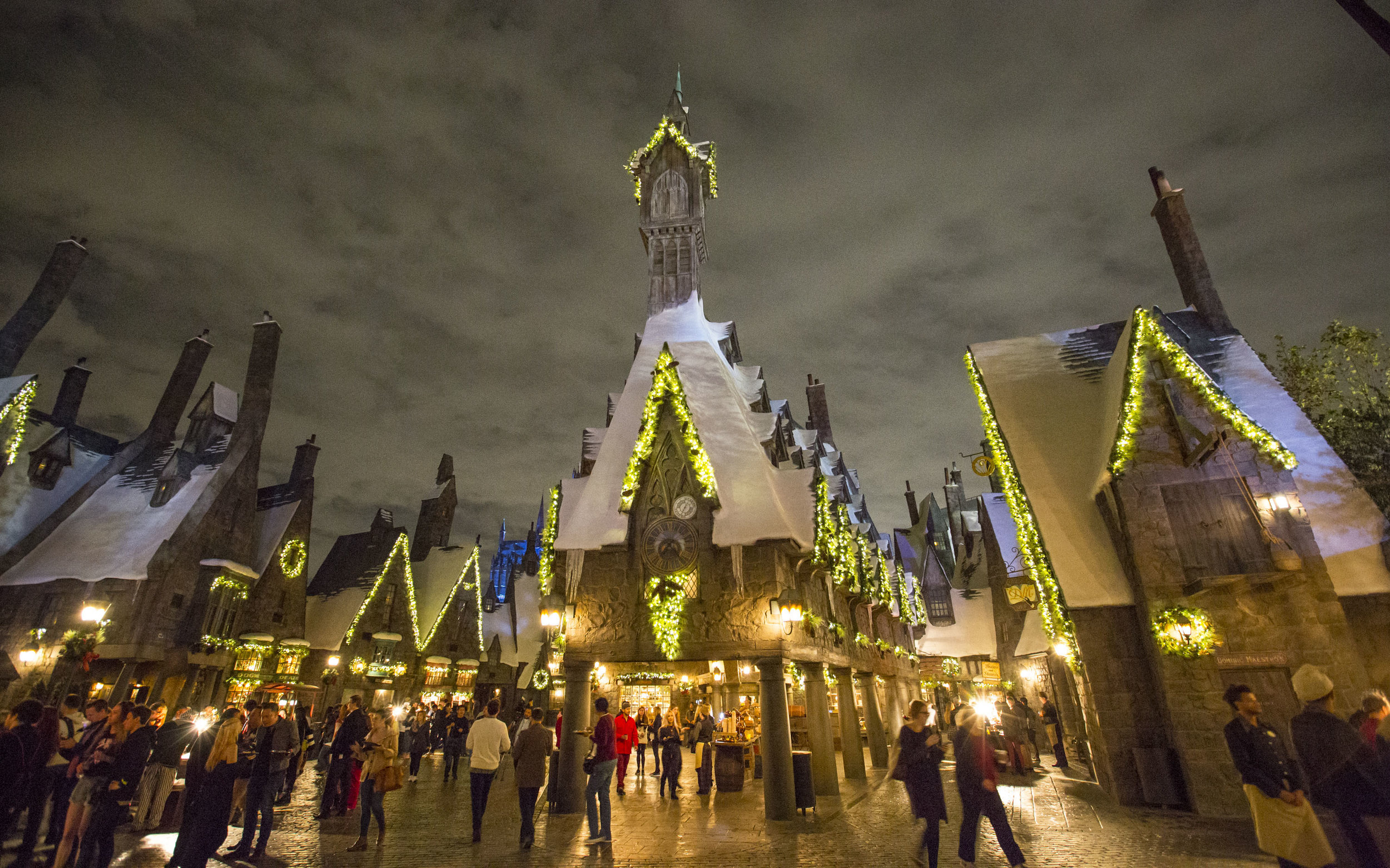 """""""Christmas in The Wizarding World of Harry Potter"""" decor at Universal Studios Hollywood."""