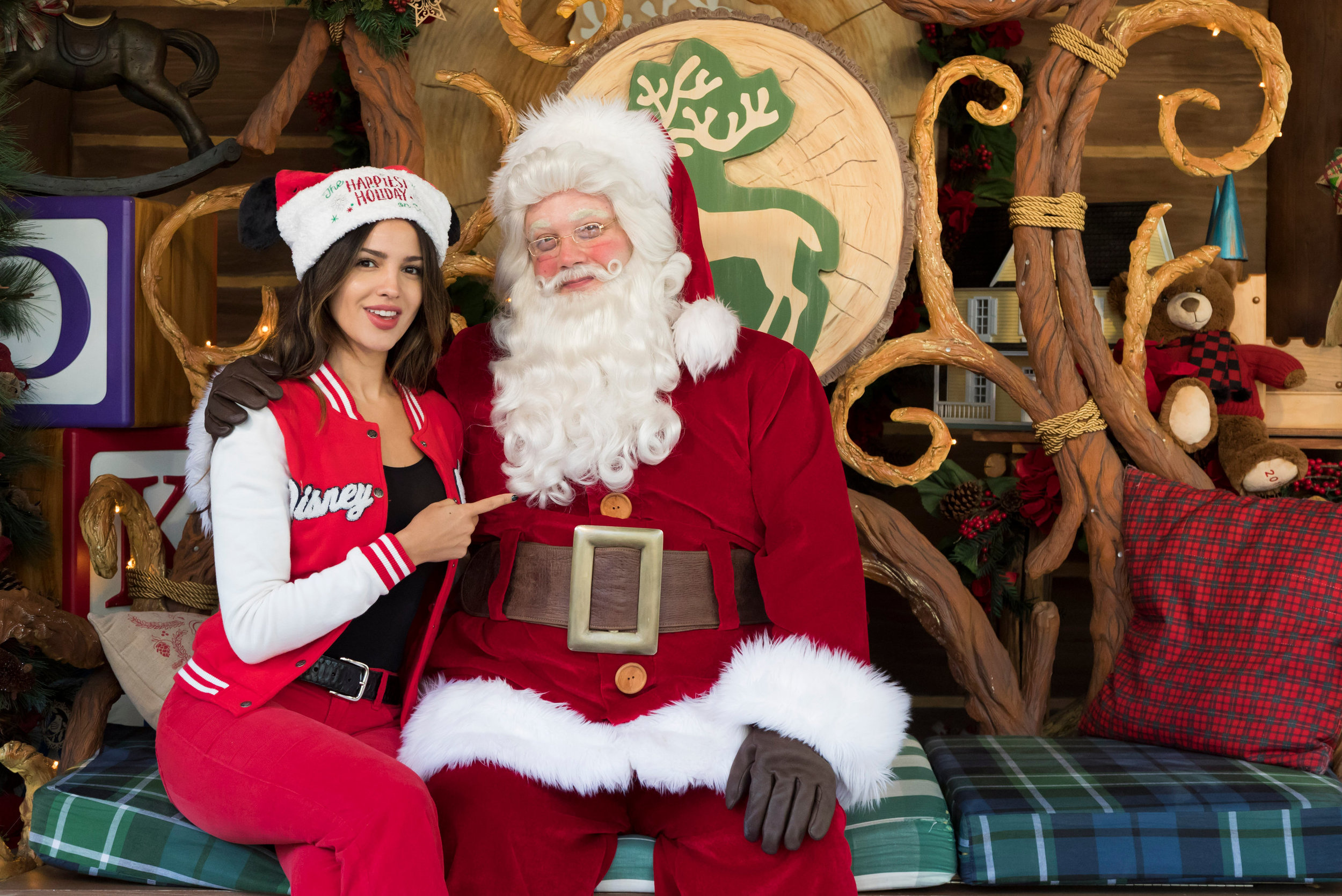 Actress Eiza Gonz�lez meets the jolly old elf himself, Santa Claus, at Disney California Adventure Park in Anaheim, Calif., during the holidays, Dec. 24, 2018. The holidays continue at the Disneyland Resort with Disney Festival of Holidays, �Believe � in Holiday Magic� fireworks spectacular and more, through Jan. 6, 2019. (Josh Sudock/Disneyland Resort)