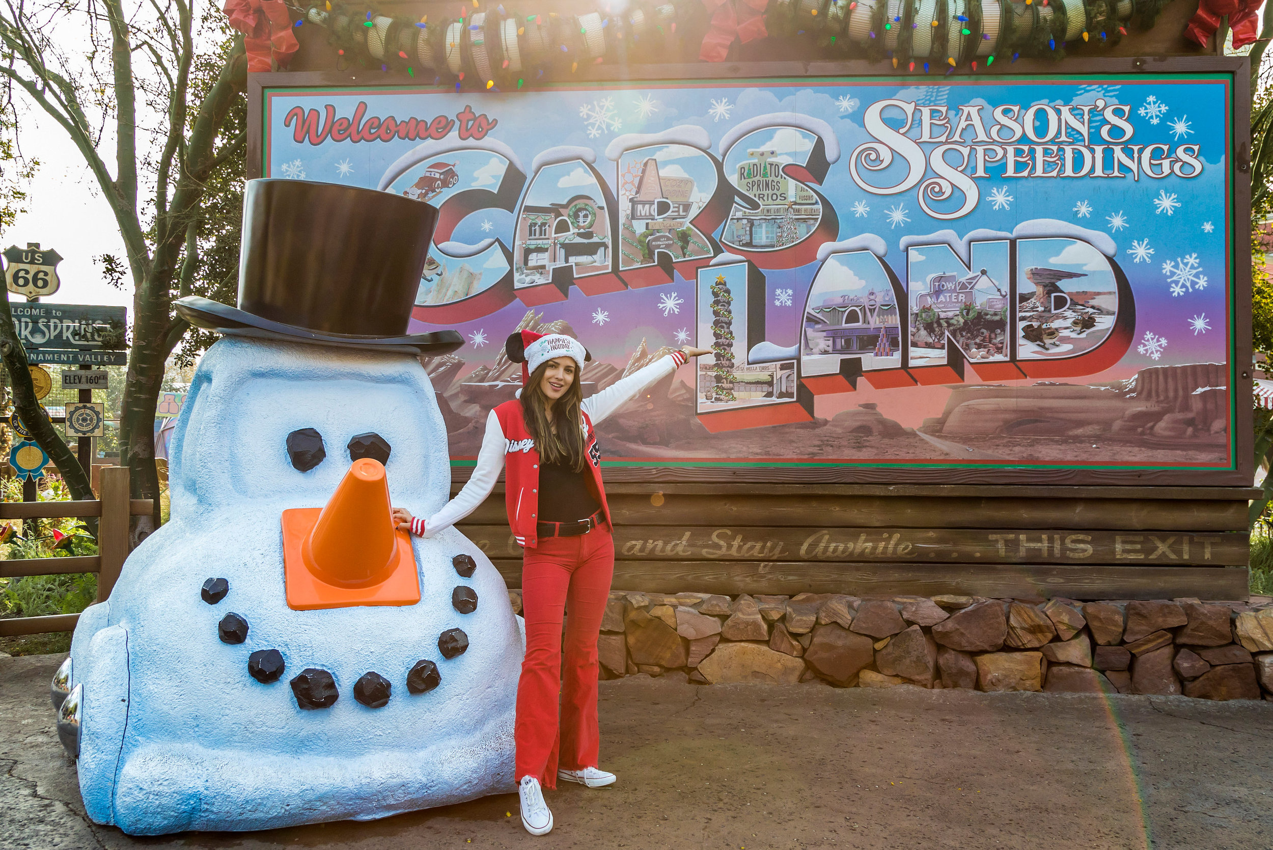 Actress Eiza Gonz�lez enjoys Cars Land at Disney California Adventure Park in Anaheim, Calif., during the holidays, Dec. 24, 2018. The holidays continue at the Disneyland Resort with Disney Festival of Holidays, �Believe � in Holiday Magic� fireworks spectacular and more, through Jan. 6, 2019. (Josh Sudock/Disneyland Resort)