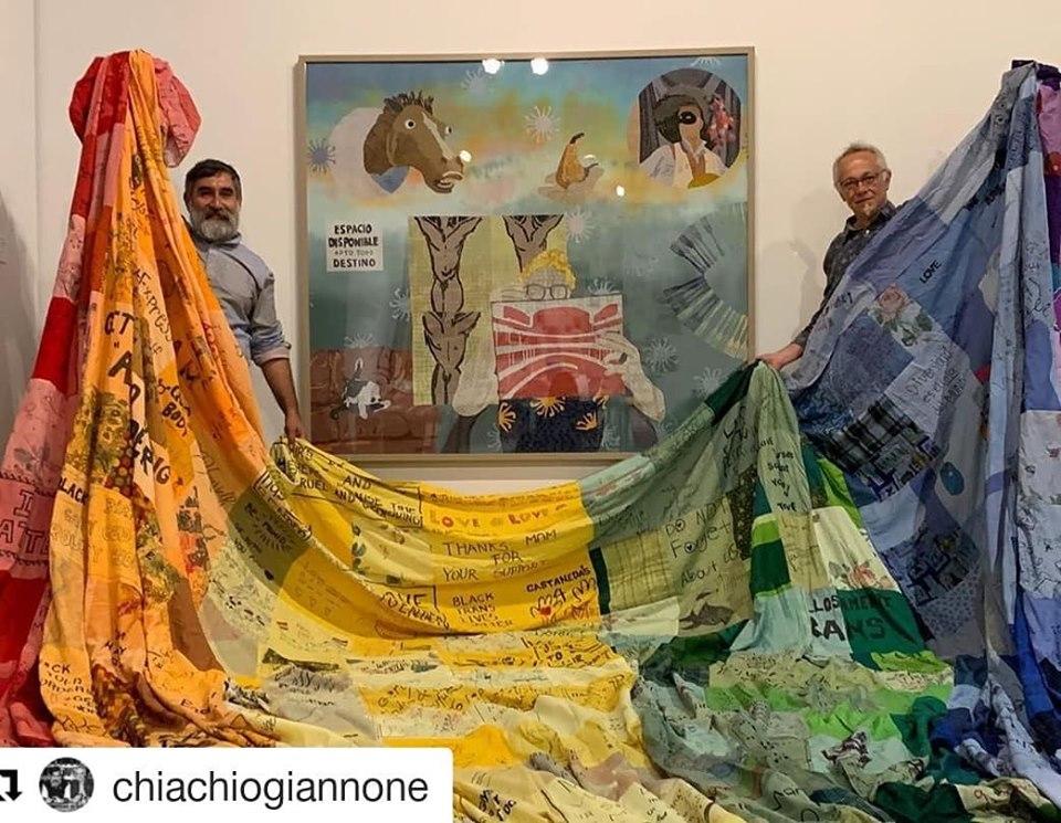 Los artistas argentinos Chiachio & Giannone realizan la bandera en apoyo a la comunidad LGBT que formará parte del Long Beach Lesbian and Gay Pride este domingo 19 de mayo desde las 10:30 de la mañana en el cruce de Lindero y Ocean Avenue, en Long Beach. Foto: Especial