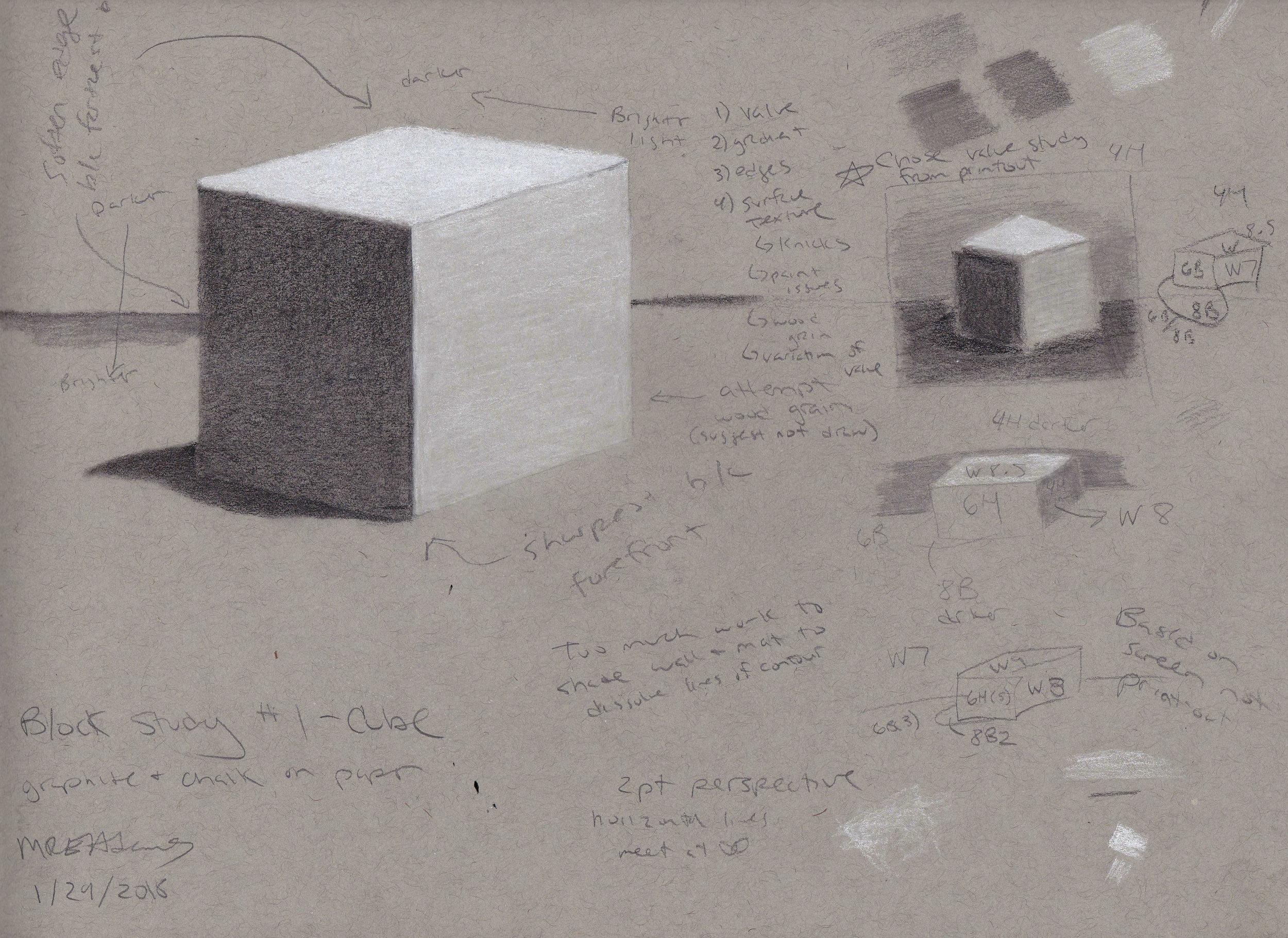 Block Study #1 - Cube (1/29/2018) -
