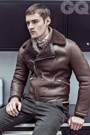 jacket Reference  chocolate leather jacket fleece color notched lapels  simple white t-shirt under the coat