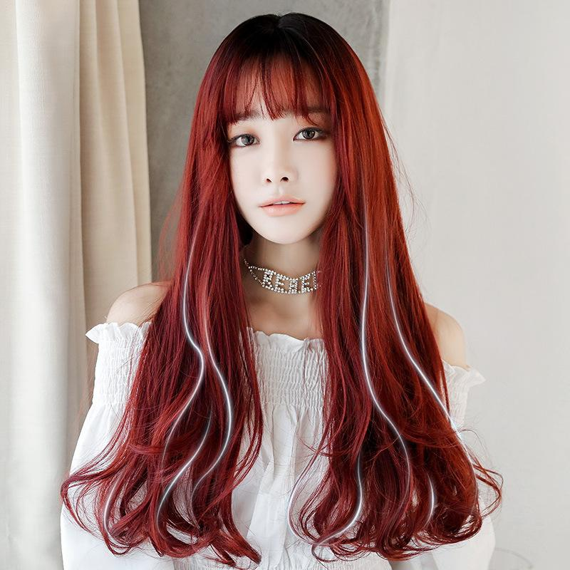 Hair Reference very long with bangs color: dyed red with a few gray strands