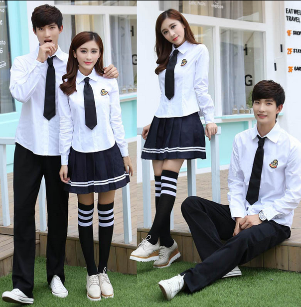 Uniform Reference  Crisp gray shirt with collar pleated navy blue skirt with two gray stripes red silk bow tie knee high navy blue socks Shoes are optional; if desired then black versions of the sneakers in the photo