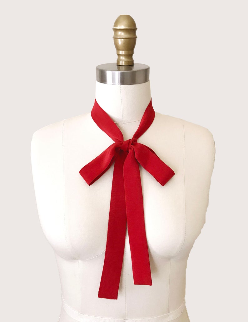 reference red silk bow tie