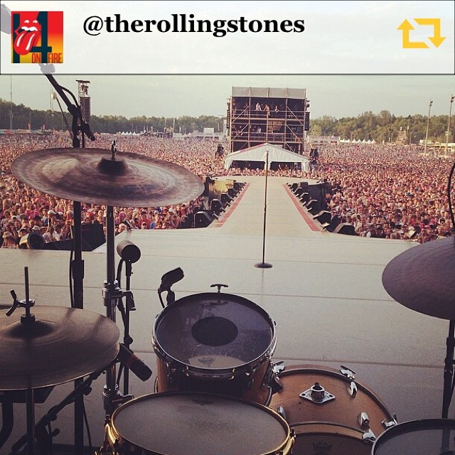 RG @therollingstones: The view from Charlie's drum kit #stonespinkpop #pp14 #therollingstones #rollingstones #charliewatts #pinkpop #regramapp