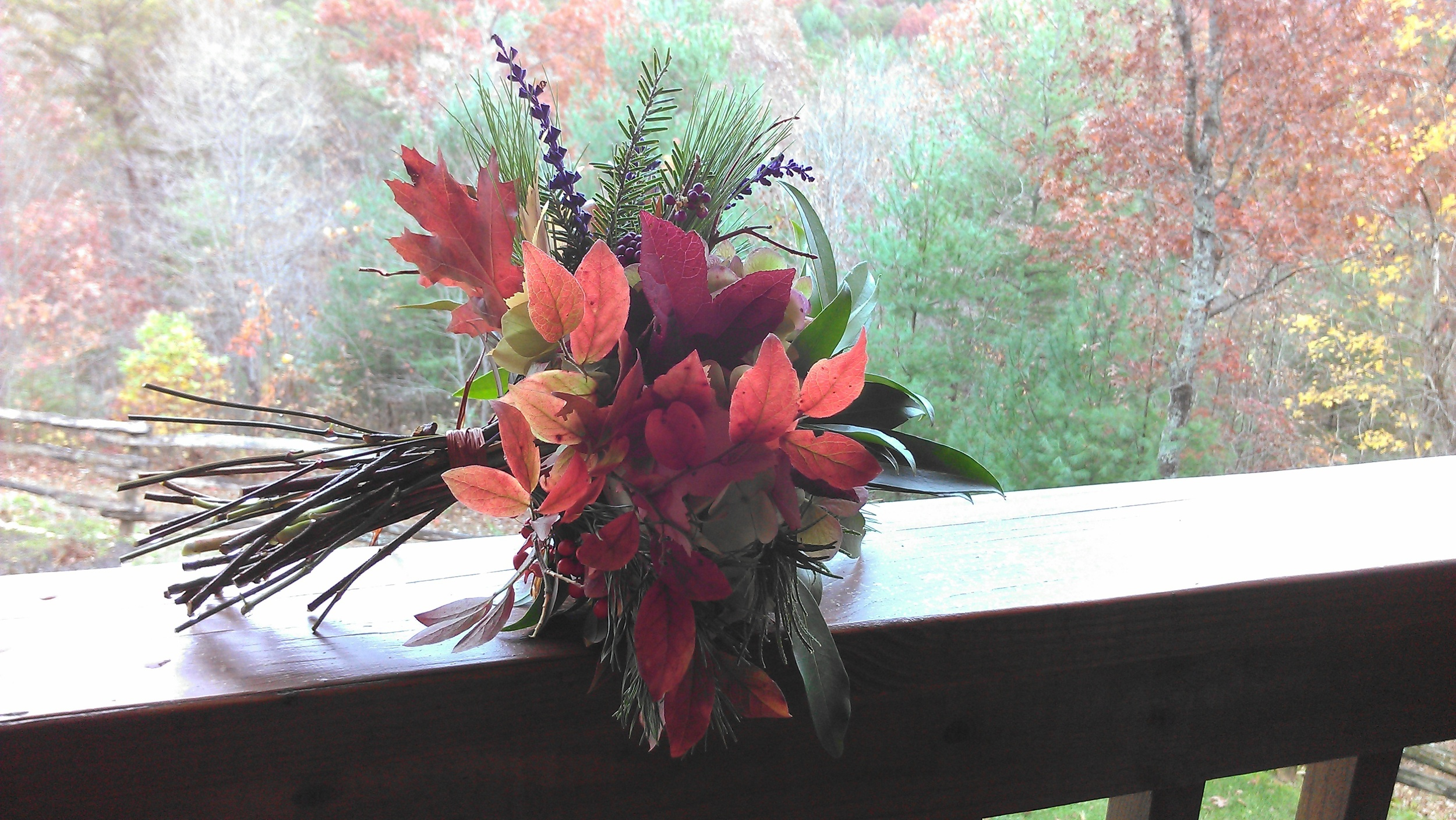 I went for a walk on my in-law's property in Tellico Plains a couple of hours before the ceremony and gathered what natural beauty I could find to create my wedding bouquet.