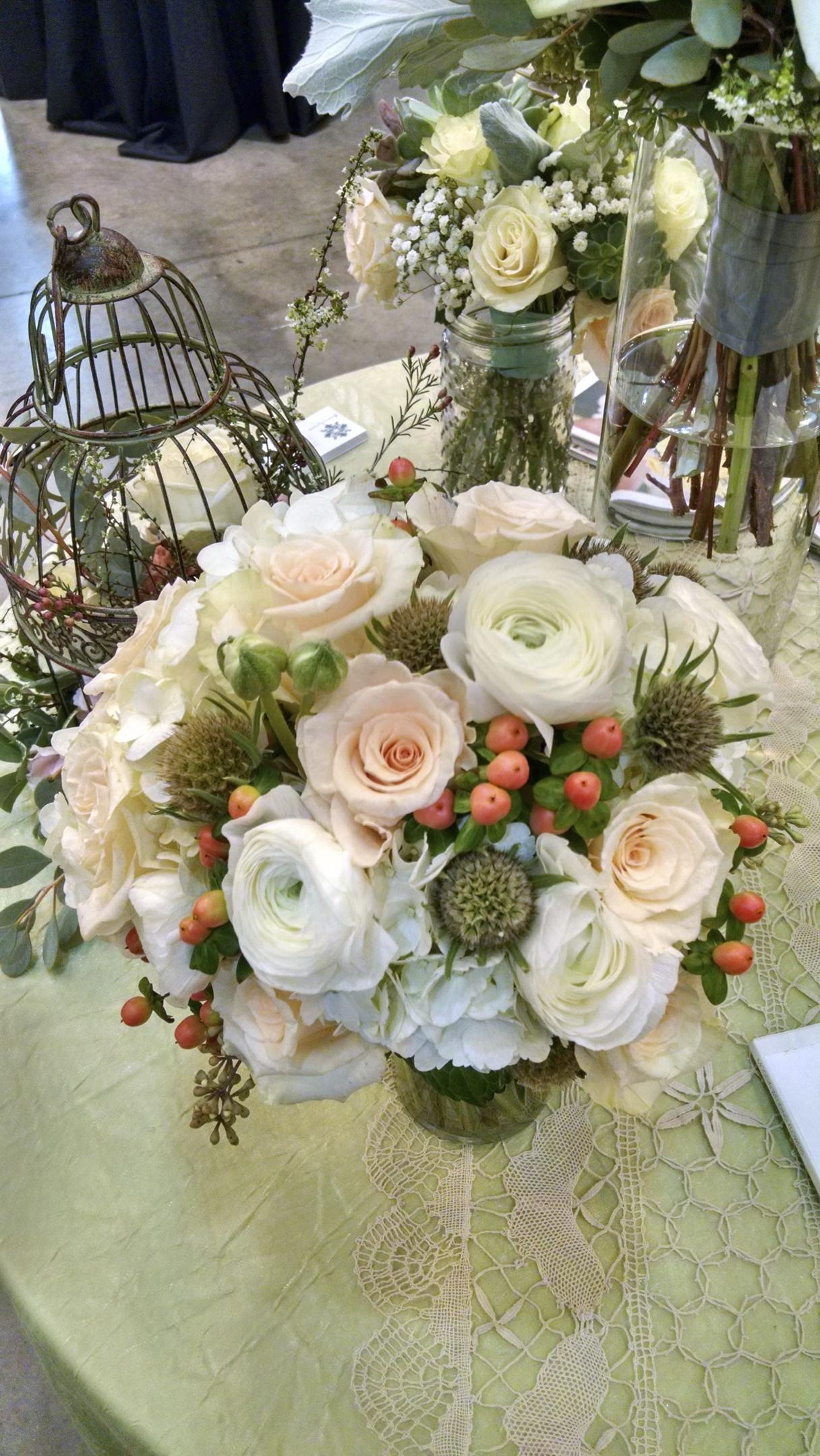 Ranunculus, Roses, Hydrangea, Hypericum