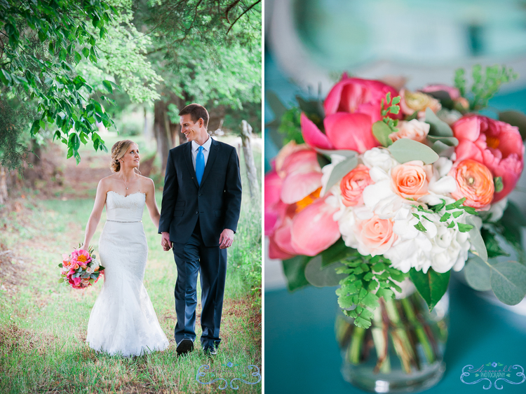 Coral Charm Peonies with Ranunculus, Spray Roses, Hydrangea, MaidenHair Fern and Eucalyptus.  Photo by Martha Howell Photography.  The Barn at High Point Farms, TN.