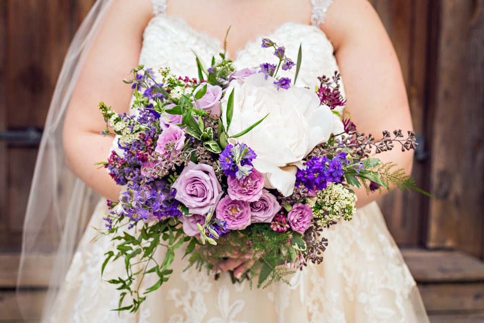 Garden Style Bouquet with Peony, Roses, Spray Roses and Larkspur.  Photo by Kenney Photography.  Cloudland Station, Chickamauga GA