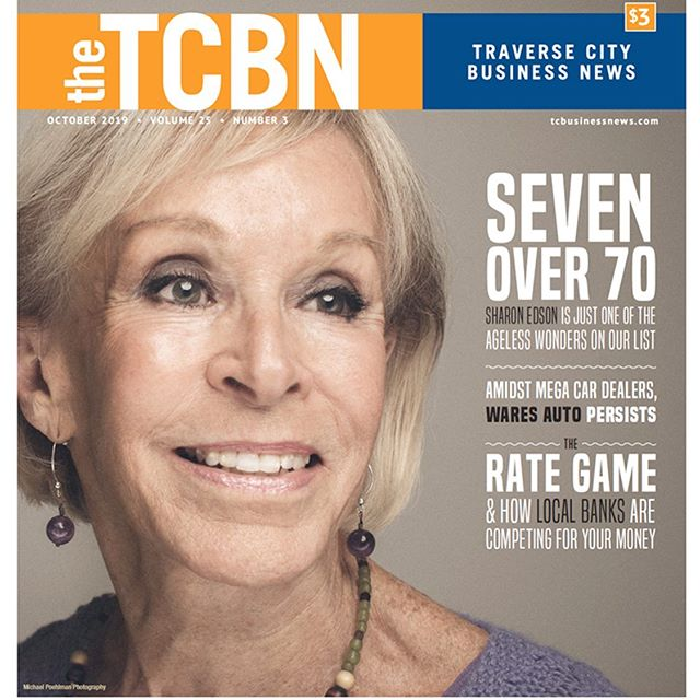 Sharon Edson for the cover of Traverse City Business News' Seven Over 70 issue. #magazinecover #businessnews #portrait #portraitphotography #cover #coverphoto #headshots #profoto #westcott #westcottlighting