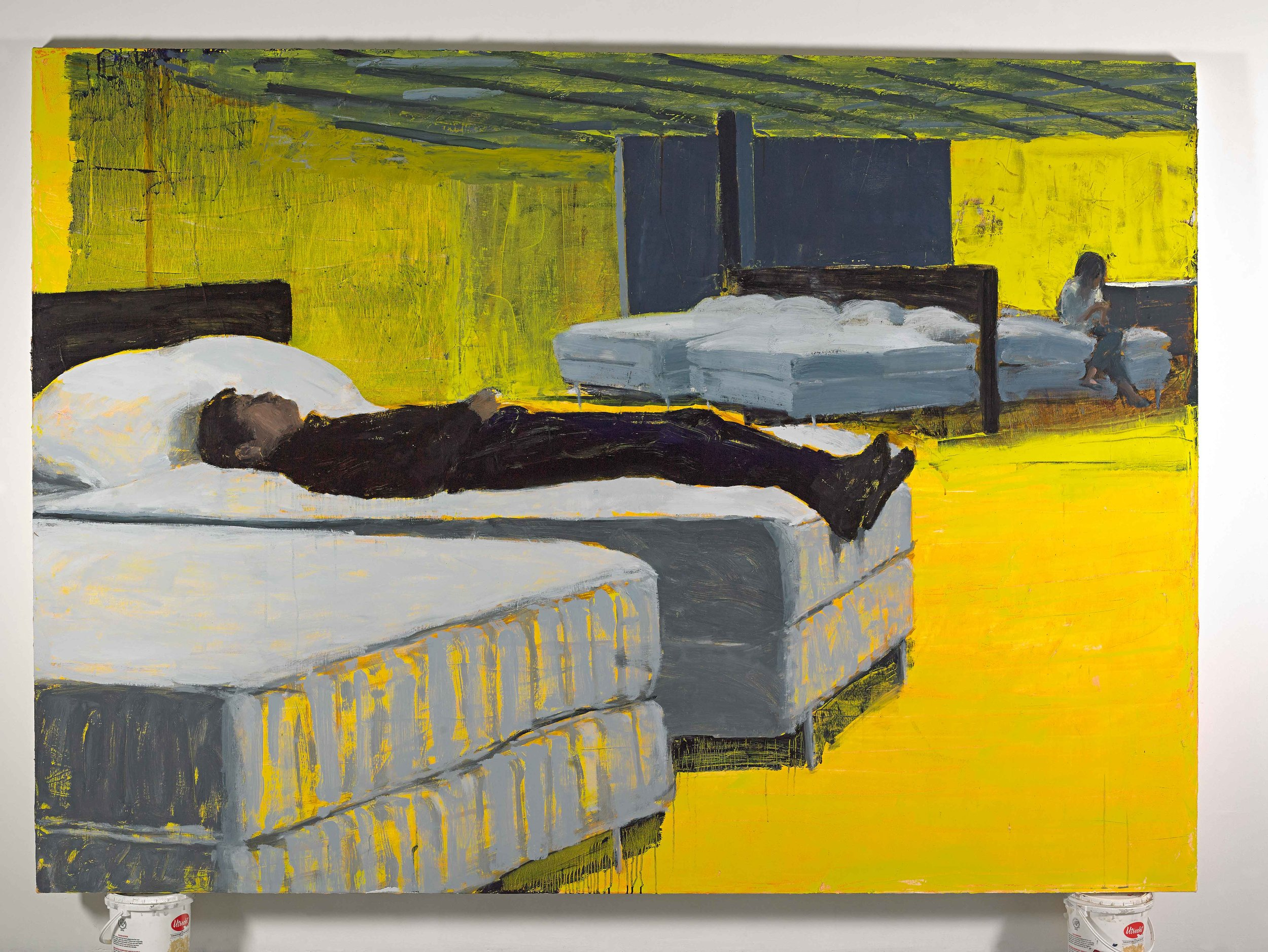 "Ikea/Bedroom, 72""x100"", oil on canvas, 2014"