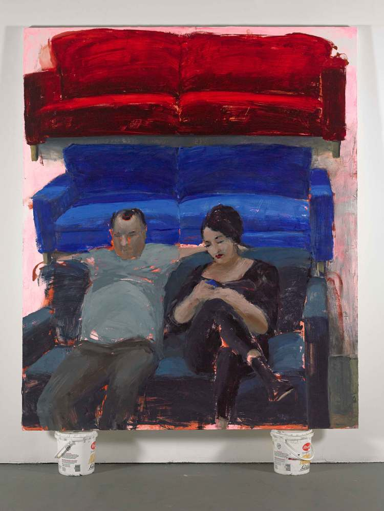 "Ikea (Couple), 60""x72"", acrylic and oil on canvas, 2014"