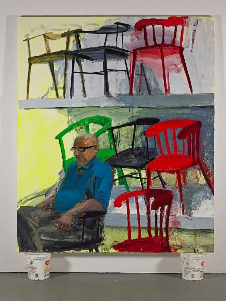 "Ikea/Chairs, 60""x72"", acrylic and oil on canvas, 2014"