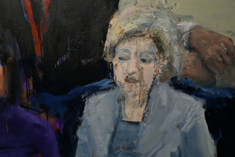 "TED Audience (detail), 96""x144"", oil on canvas, 2015"