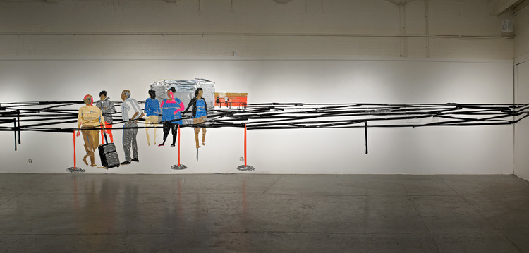 Airport In Security (installation view), 8'x44', duct tape on wall, 2012