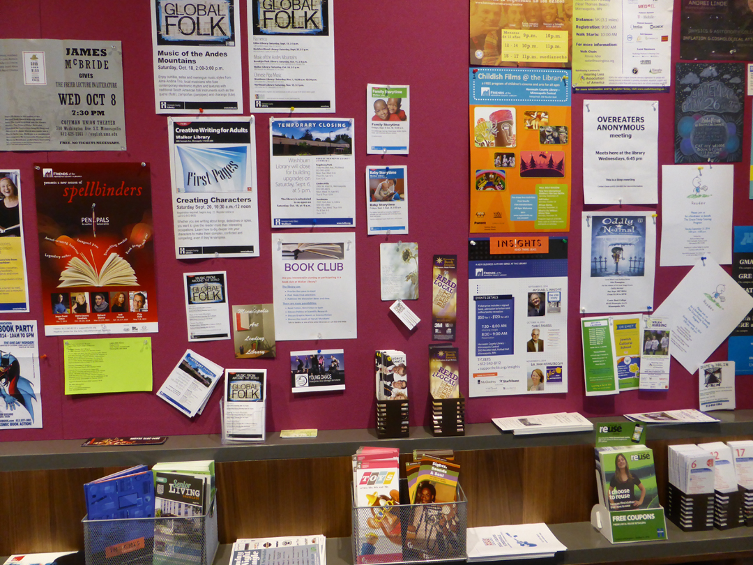 library announcement wall