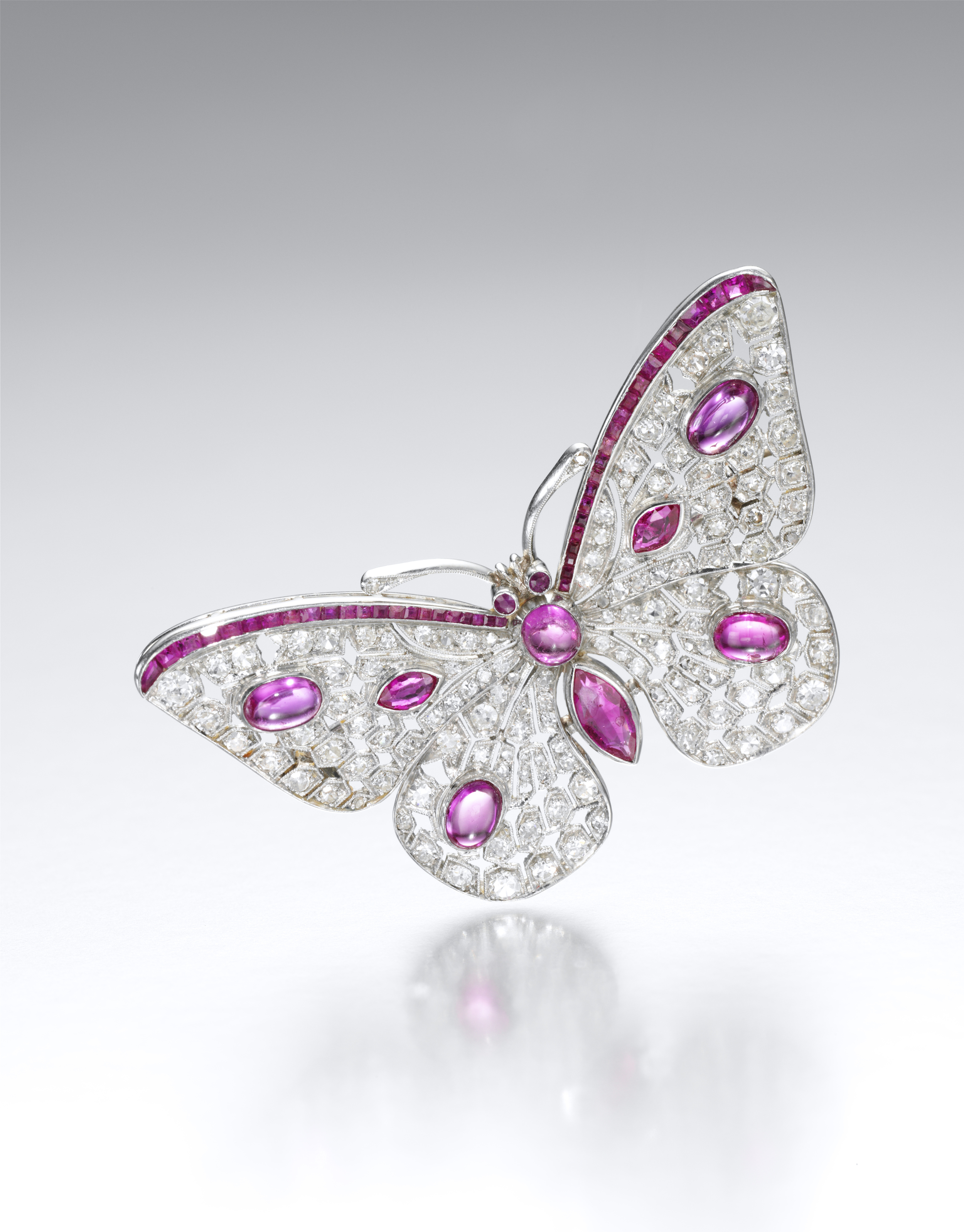 1920's Diamond and ruby butterfly brooch