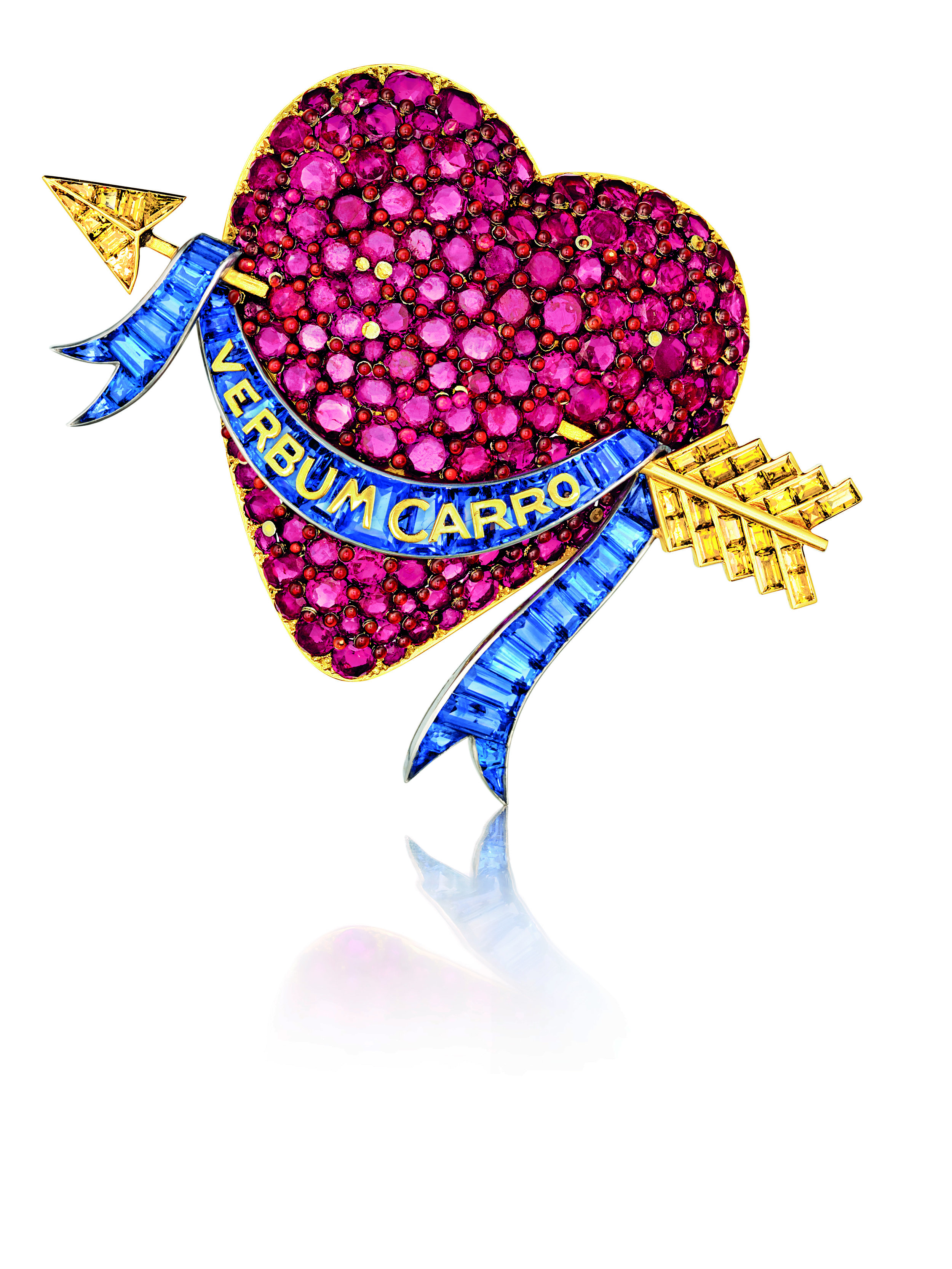 The Heart brooch by Verdura for Paul Flato c1938 inscribed VERBUM CARRO meaning THE WORD MADE FLESH or A WORD TO MY DEAR ONE_commissioned by Millicent Rogers_© Verdura_from RUBY_published 2017.jpg
