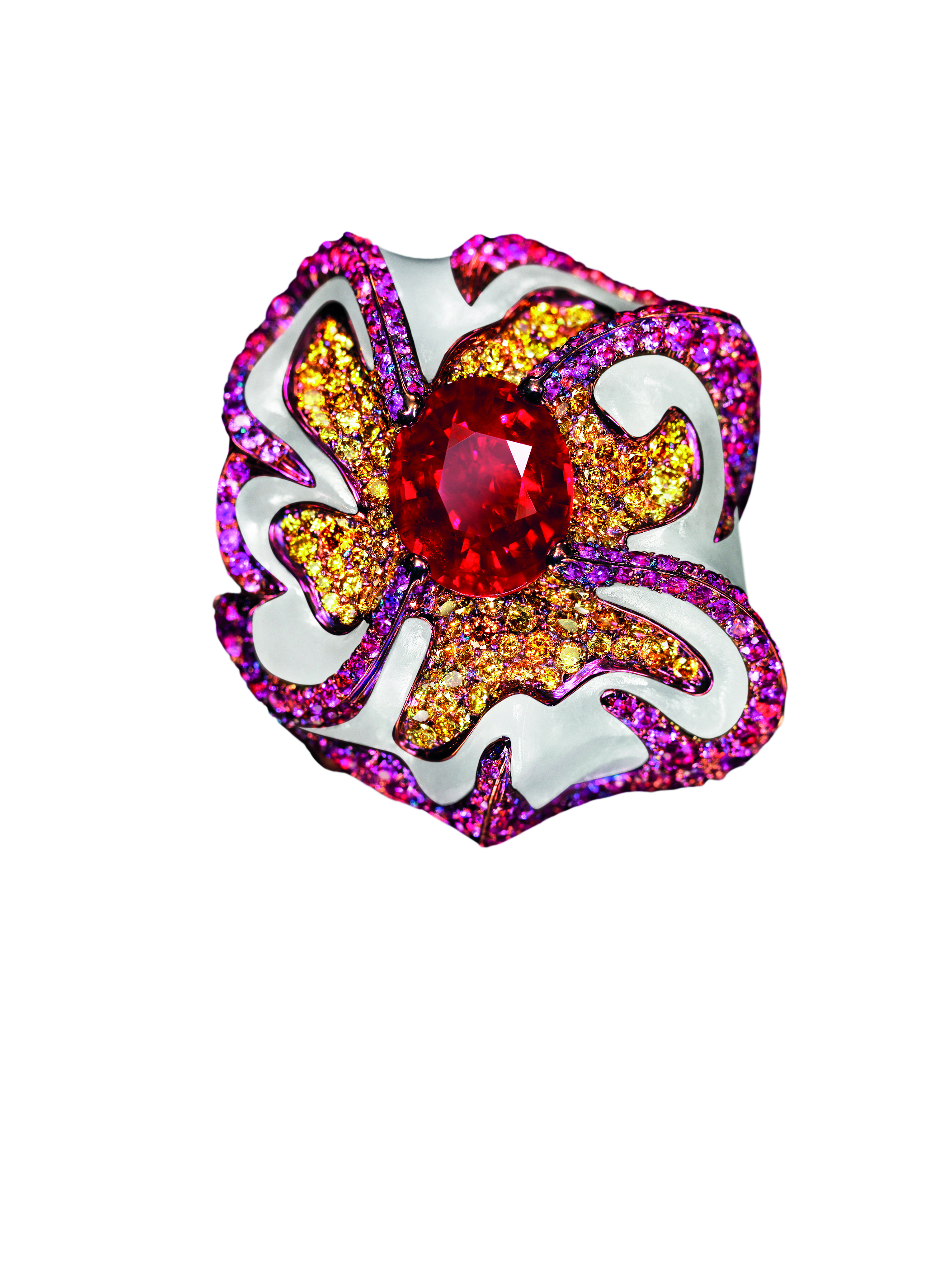 Top view of the Star of Light ring by Wallace Chan depicting a new plum flower_© Wallace Chan_from RUBY_published 2017.jpg