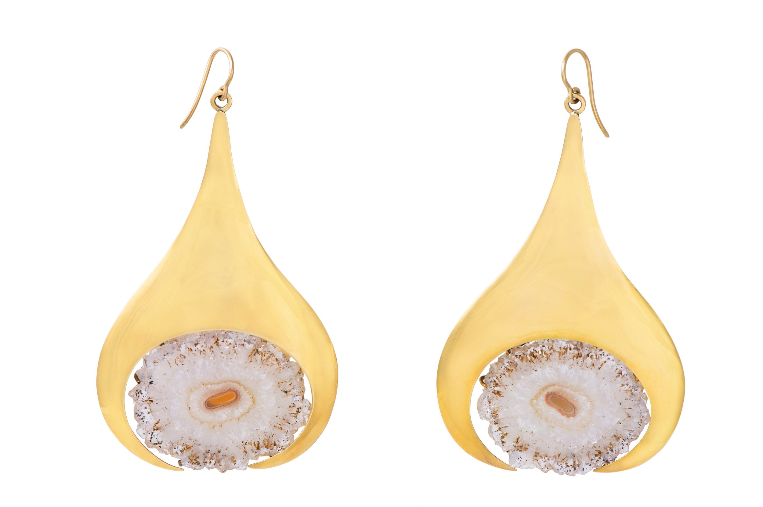 Pair of amethyst slice and 18-carat gold earrings, by Barbara Cartlidge, 1970.