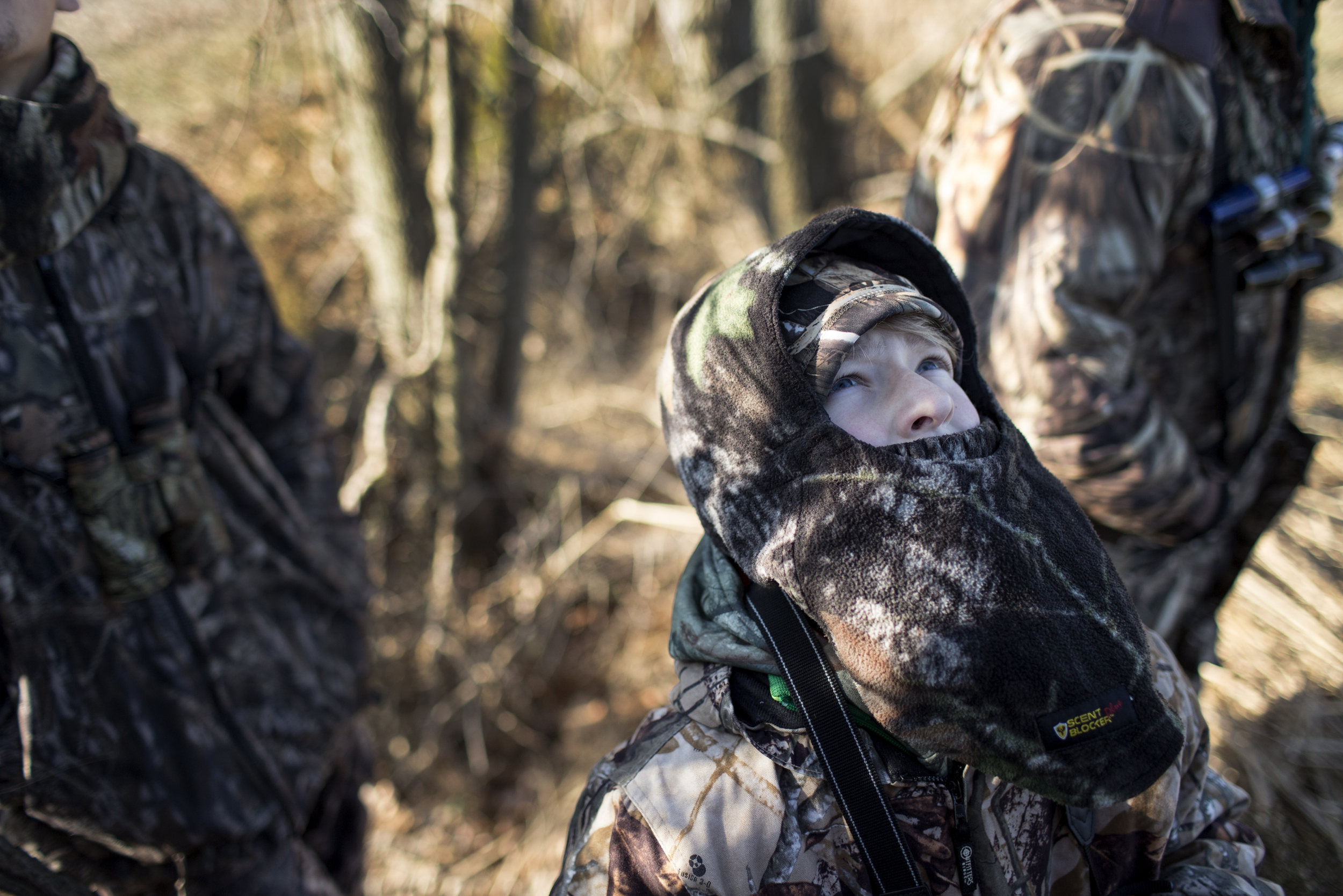 Cruz gazes up at a flock of geese flying overhead at the end of morning goose hunt outside Easton, Maryland.