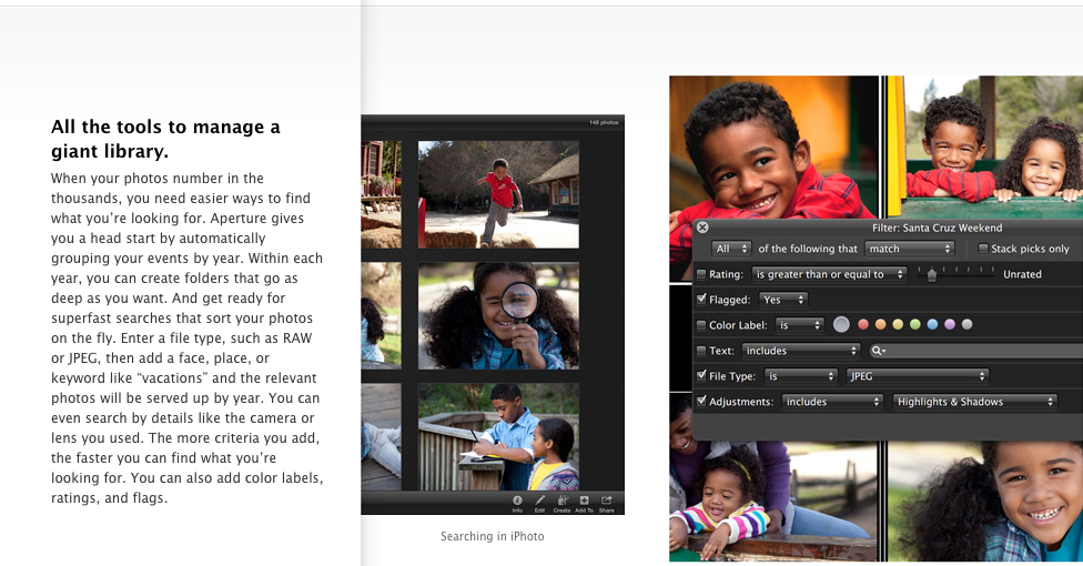 Aperture search options