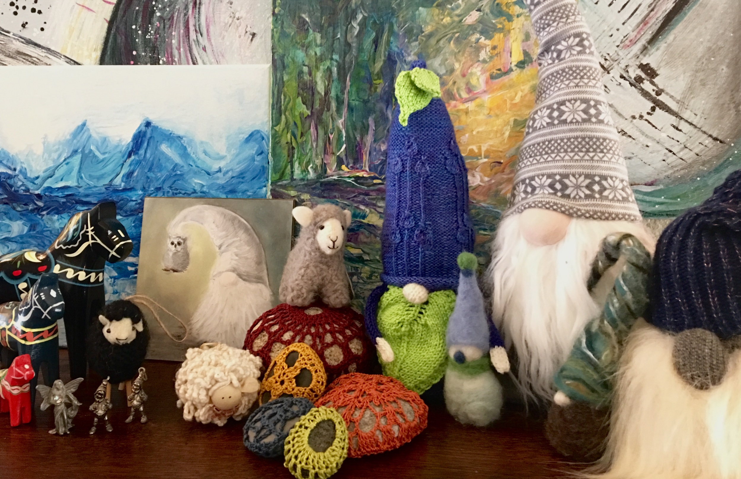 Gnomes and more - Mixed gnome setting with rock formations, felted , Seawn & knit gnomes & various paintings