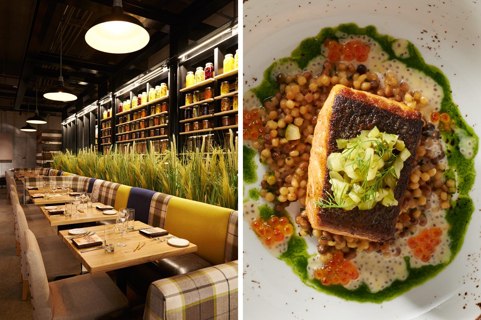 Interiors and Seafood dish at Urban Farmer CLE