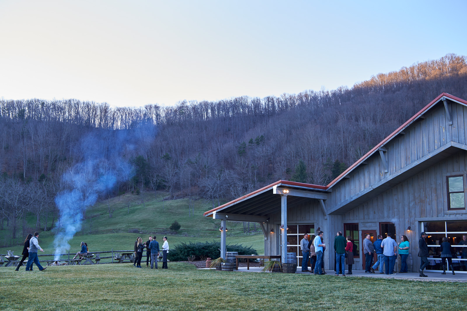 Guests at the Appalachian Storytellers' Dinner organized by Blind Pig Supper Club at Claxton Farms, Weaverville, NC