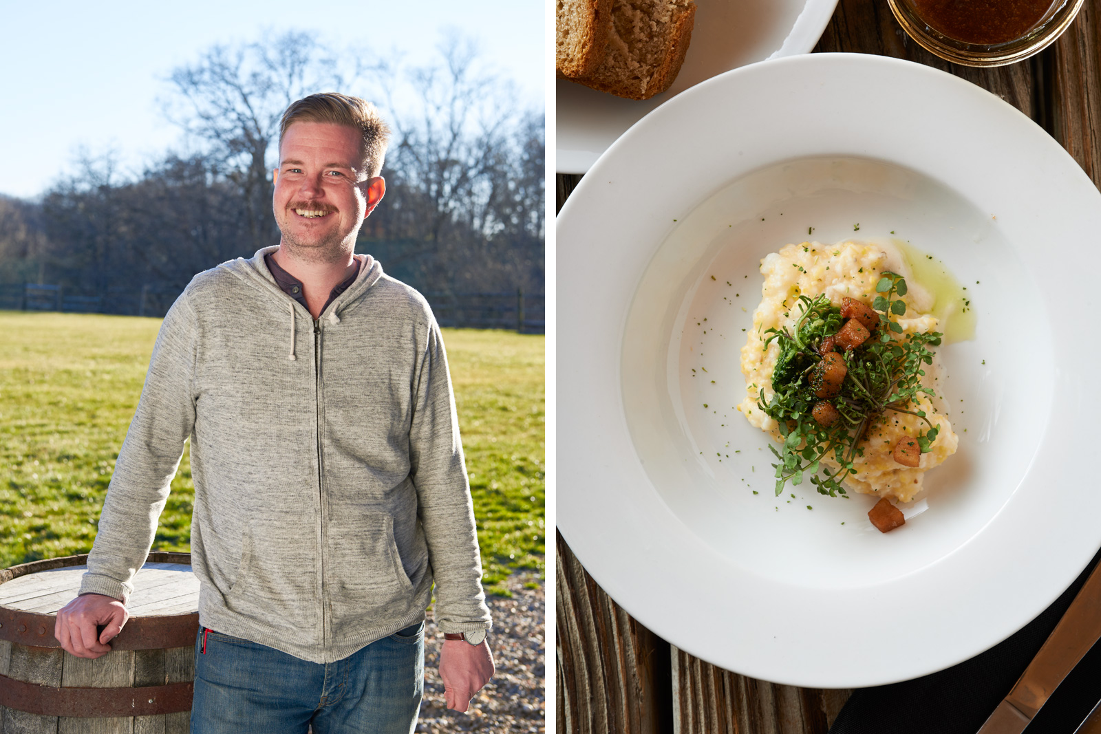Chef Matt Dawes, Hominy porridge with Creasy Greens & Fatback by chef Matt Dawes