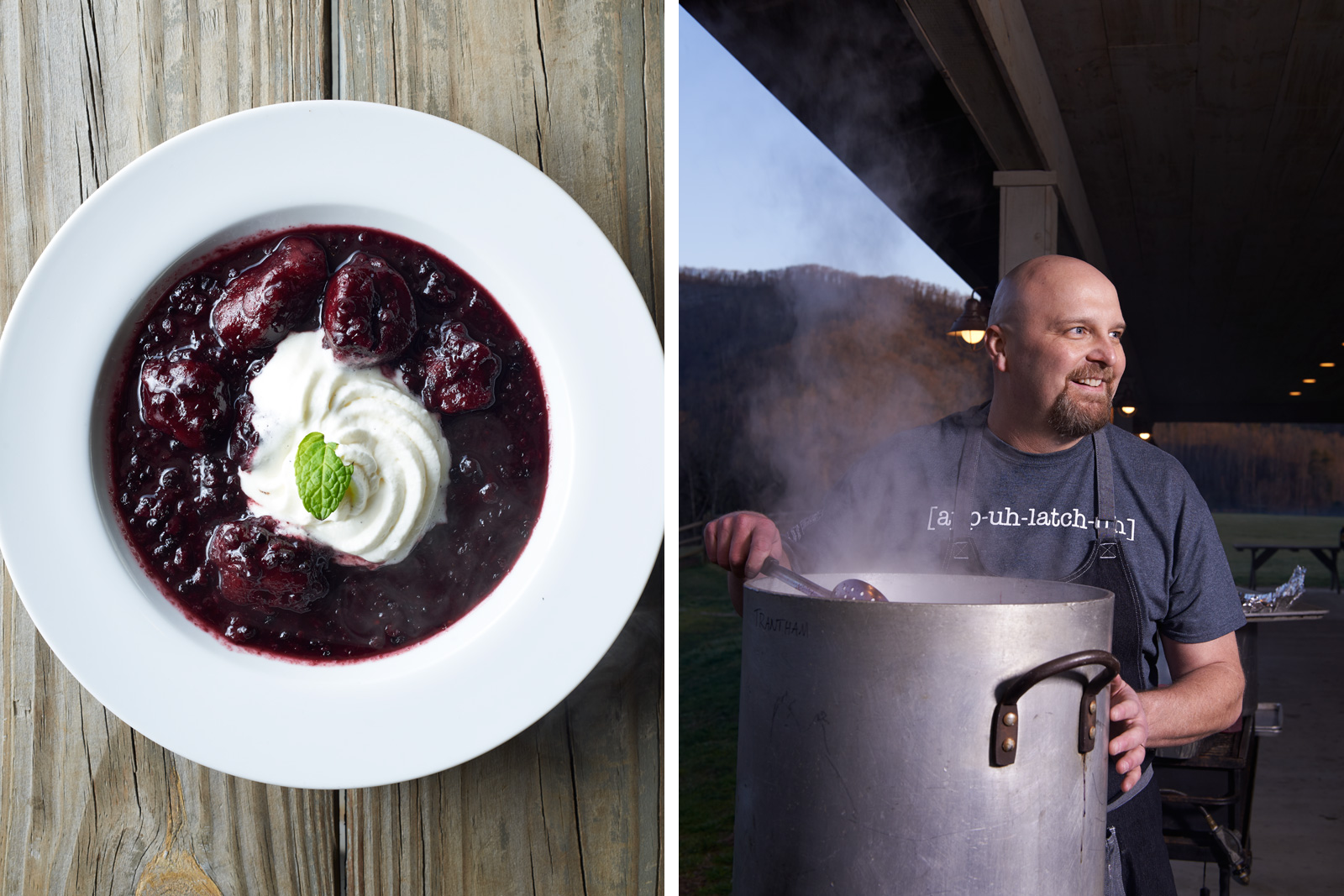 Mamaws Blackberry Dumplings with Fresh Cream & Mint by Chef Denny Trantham
