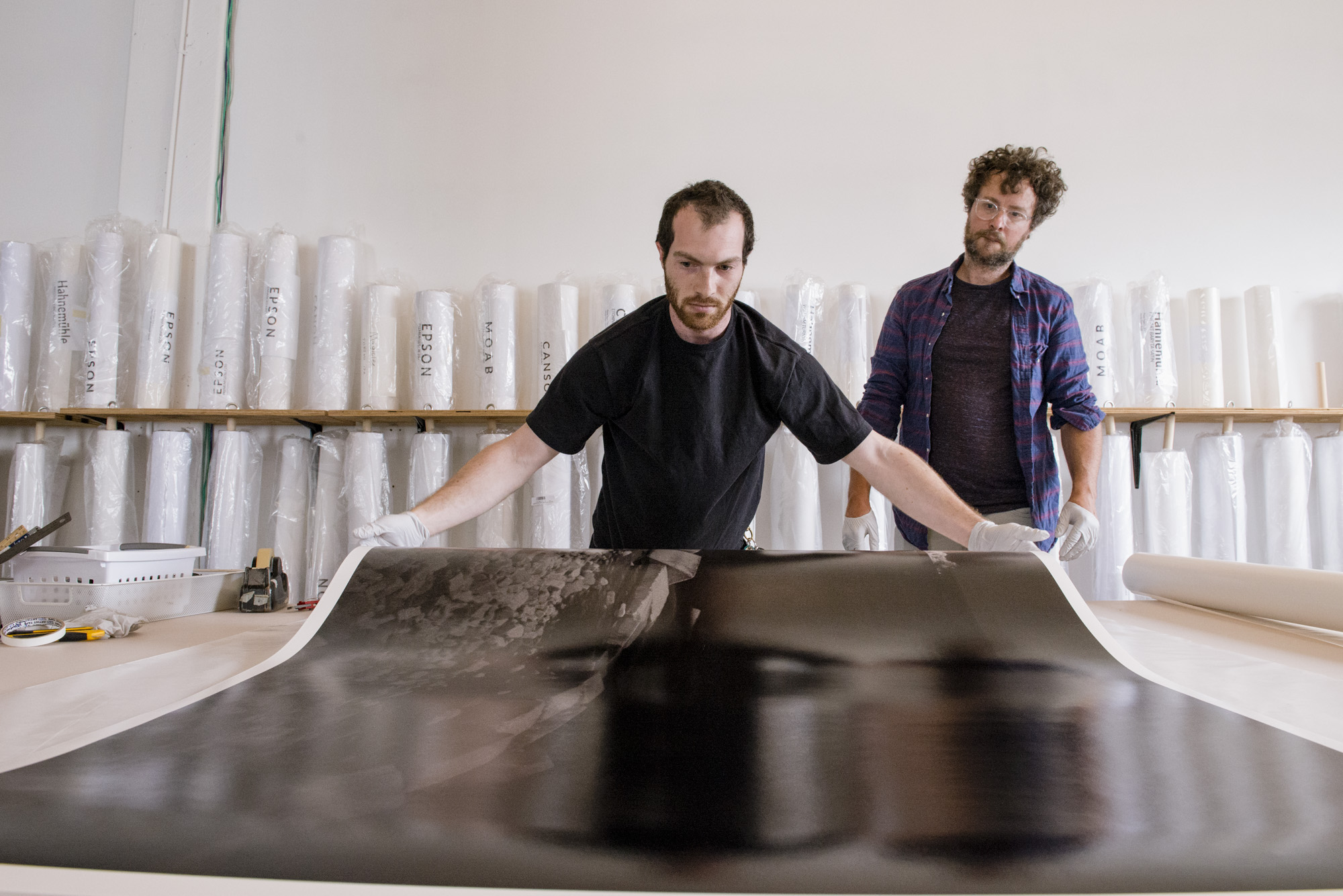 Lab Director Adam Schachner with June 2018 Artist in Residence Jeremy Bolen