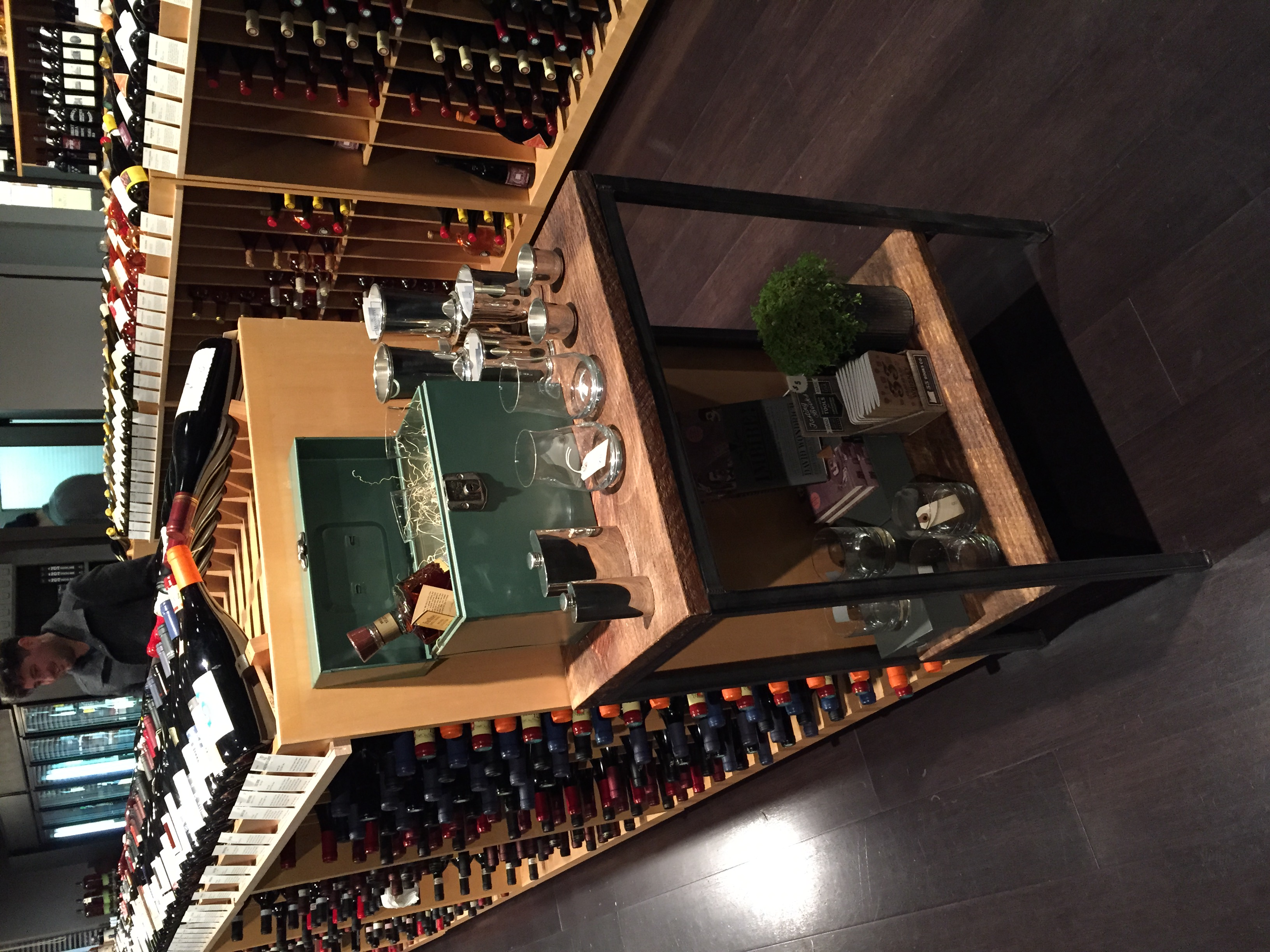 Woodland Wine Merchant, featuring custom made tables.