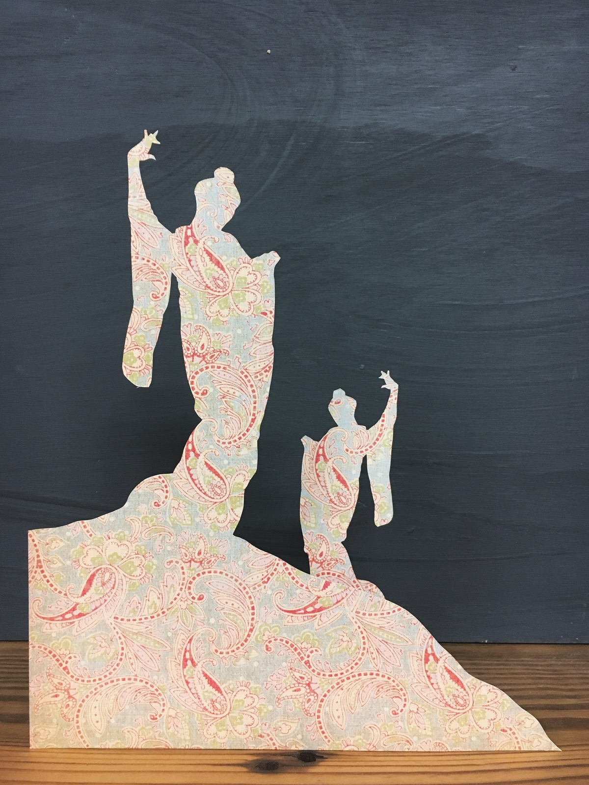Pair of Japanese dancers, hand cut from vintage paisley patterned paper