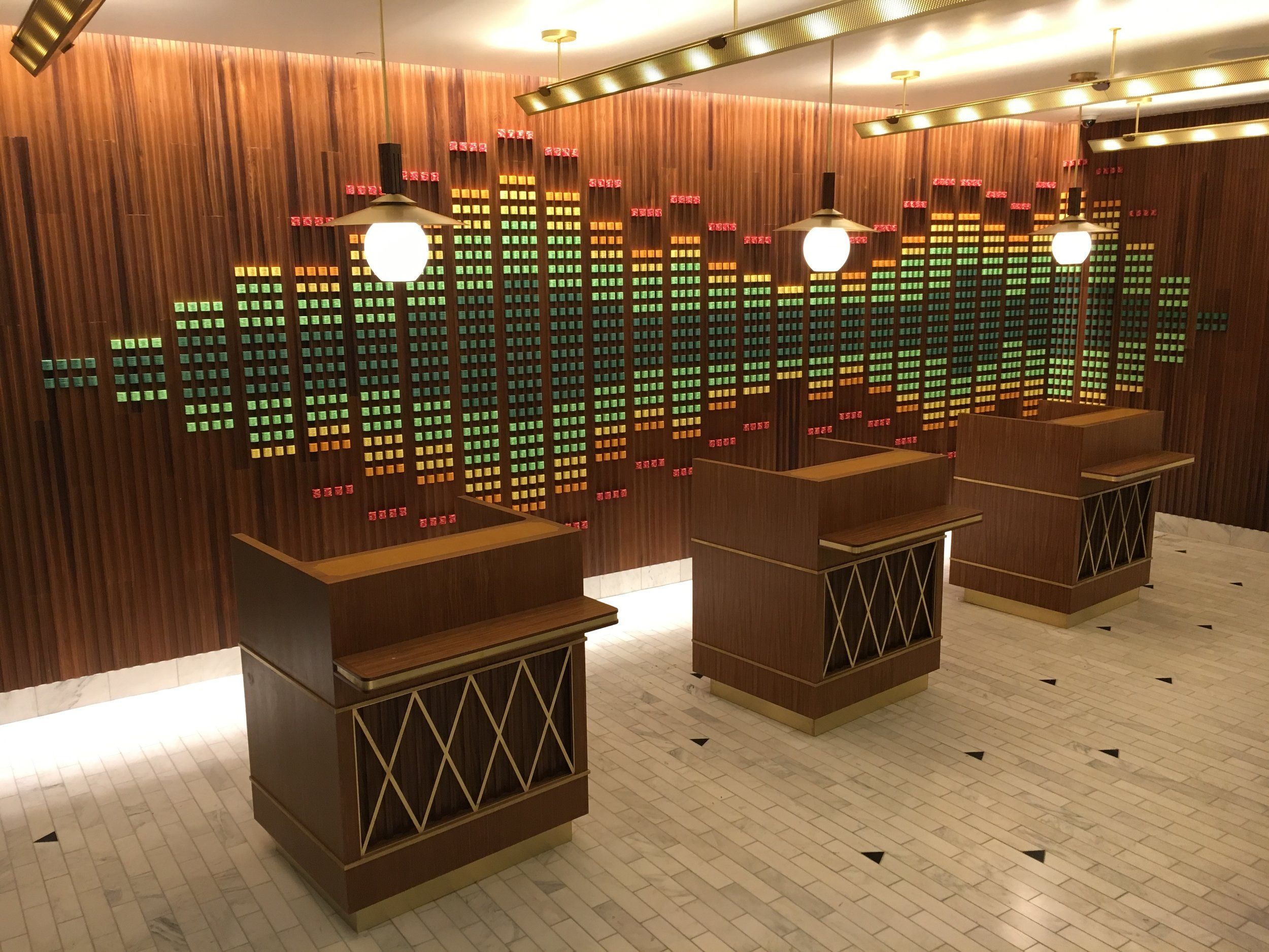 over 26,000 poker chips stacked into an equalizer bar design for the W hotel in Las Vegas. Whew. that was a beast.
