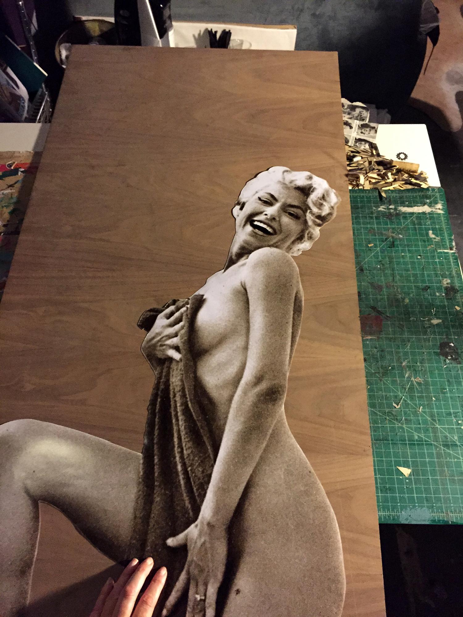 "Process imageof Peek-a-boo: 1959 Frolic + 1959 Philadelphia Enquirer  , mixed media on cherrywood panel, 24"" x 48"",2015."