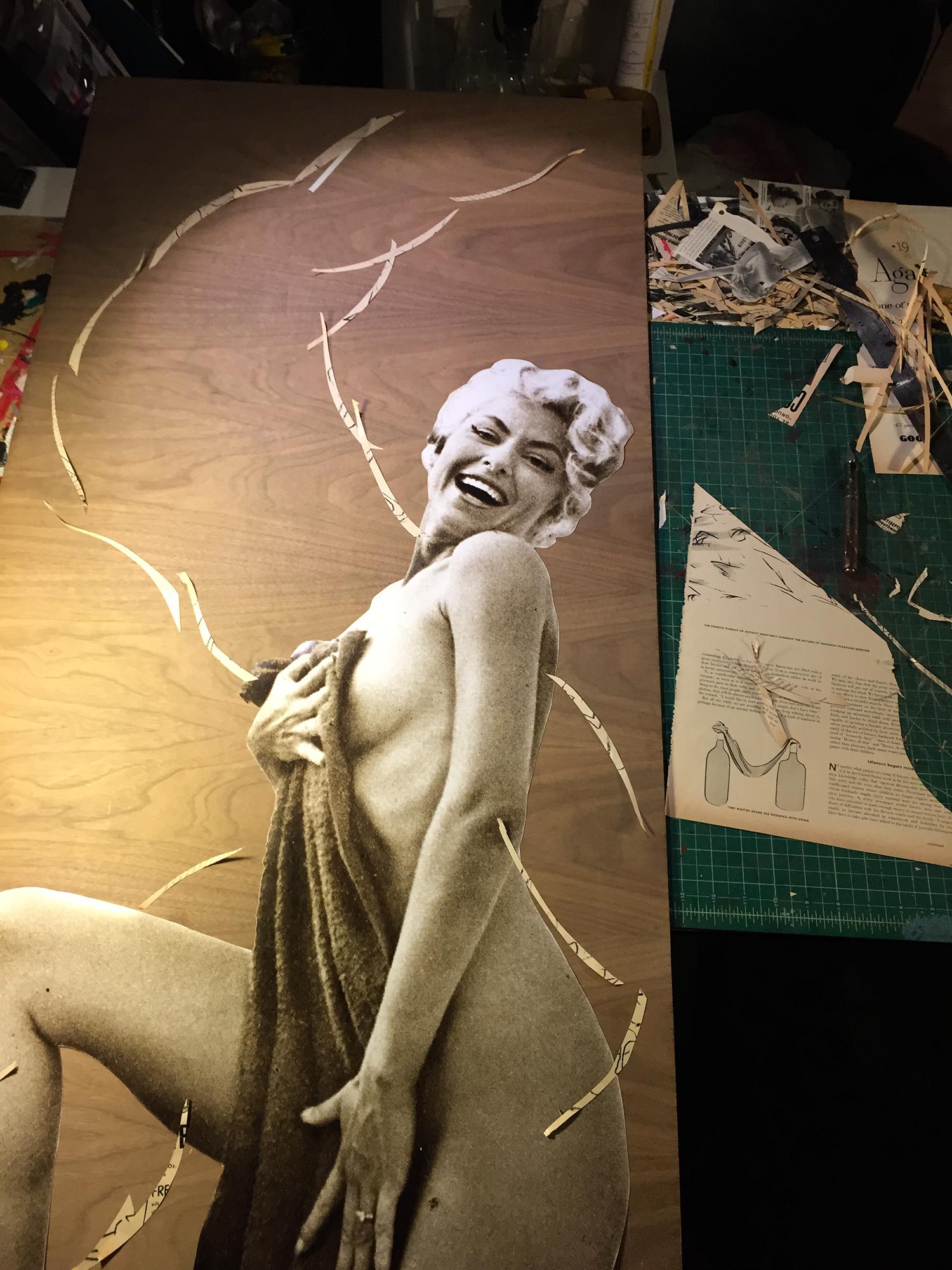 "Process image  of  Peek-a-boo: 1959 Frolic + 1959 Philadelphia Enquirer  , mixed media on cherrywood panel,24"" x 48"",2015."