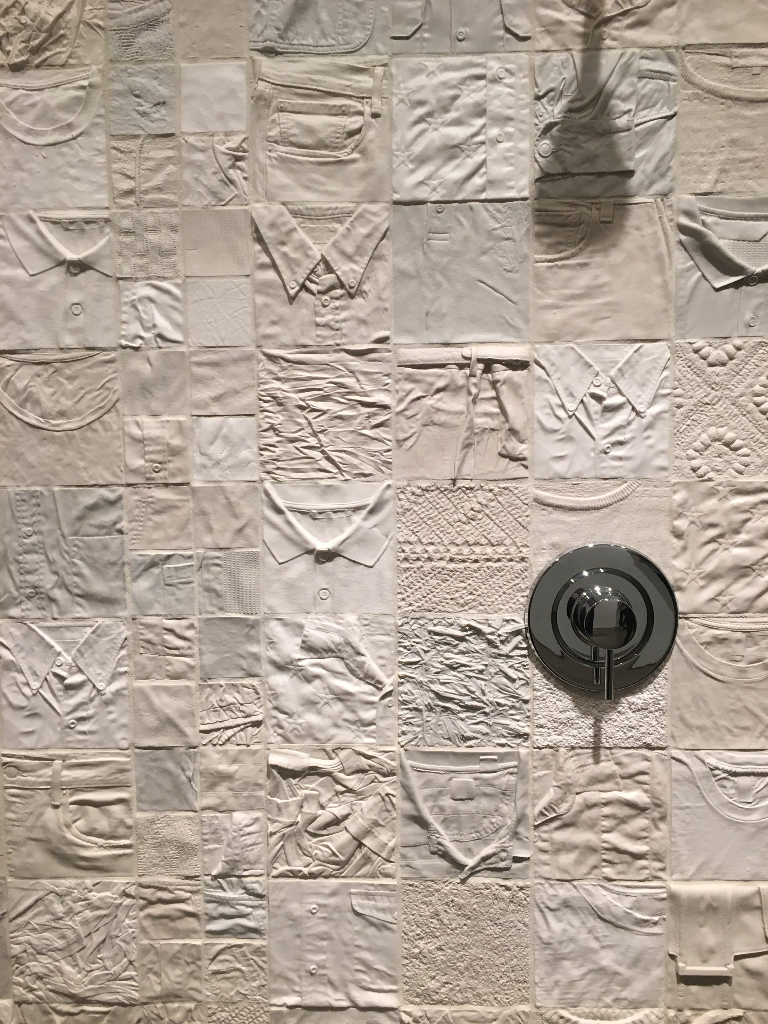 Ry Rocklen: L.A. Relics at  Honor Fraser  is cheeky fun. I especially enjoyed the hundreds of tiles made of clothing (both his own and found) that are adorned with shower heads. The show is full of absurd and wonderful familiar objects taking on new forms.