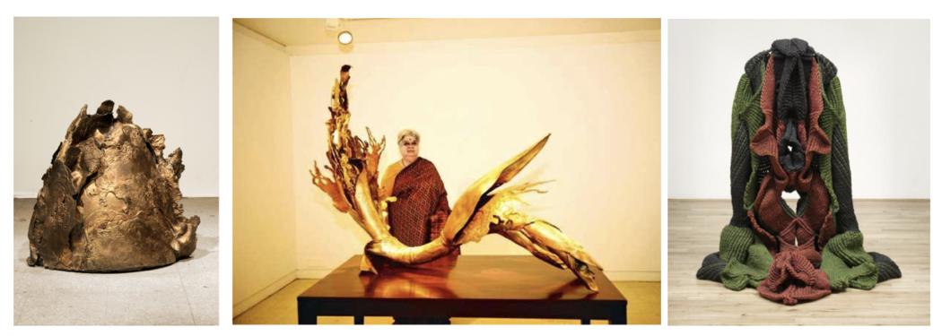 Image credits, left to right: Mrinalini Mukherjee, Mound I, 2013, Bronze, 66 × 64 × 36cm. Mrinalini Mukherjee at Delhi's Nature Morte gallery, pictured with PalmScape V, 2013. Bronze, 175 x 124 x 76 cm, image by Pradeep Gaur/Mint. Mrinalini Mukherjee, Jauba 2000. Hemp fiber and steel, 143 x 133 x 110 cm, collection of Tate. © Mrinalini Mukherjee.