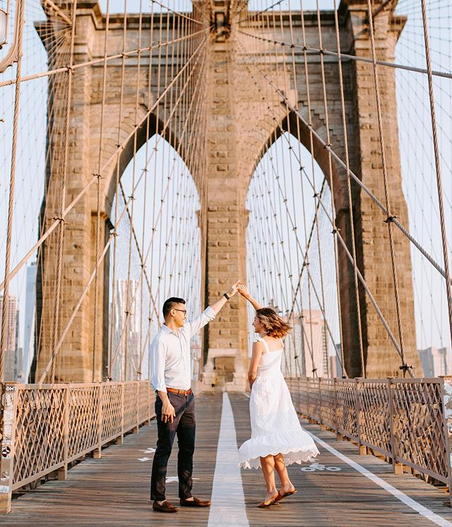 I've said this before and I'll say it again, there is no better time to be on this bridge than at sunrise, especially with this amazing couple! . . . #sunrise  #brooklyn #brooklynbridge #sky #nycphotography #sun #skyline #morning #couple #bridge #couplephotography #nyweddingphotographer #nyc #Manhattan #I❤️NY #nyc #architecture #wanderingphotographers #weddingphotographer #weddinginspo #weddinginspiration #newyorkcity #hudsonvalleyweddingphotographer #radcouples #engagedlife #moonlightdaydreamers #engagedtothedretails